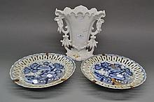 Antique French porcelain marriage vase with two