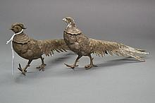 Pair of French decorative table pheasants, approx