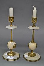 Pair of French alabaster candlesticks with mounted