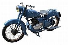 Vintage Peugeot 125 TC motorbike, painted in blue.