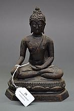 Cast bronze figure of a seated Buddha, approx 20cm