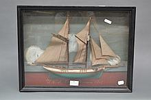Antique French boat diorama, approx 33cm H x 45cm
