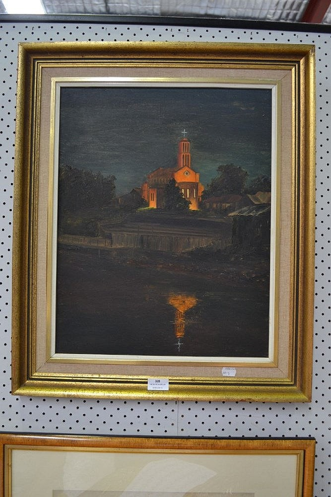 Tony Lewis (Working 1980s-90s) New Zealand, watercolour Church at Night, approx 49.5cm x 39cm