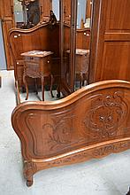 Antique French Louis XV style walnut double bed