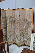 Vintage hand painted Oriental four fold screen,