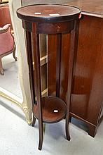 Antique inlaid mahogany Edwardian pedestal, approx