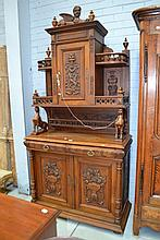 Antique French carved walnut two height buffet,
