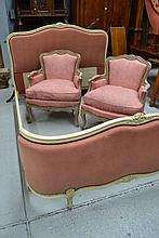 vintage French Louis XV cream painted upholstered