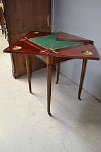 Antique brass inlaid envelope card table, approx