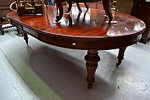 Antique Victorian D end extension table, approx
