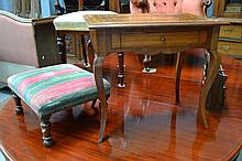 Small antique French inlaid single drawer table
