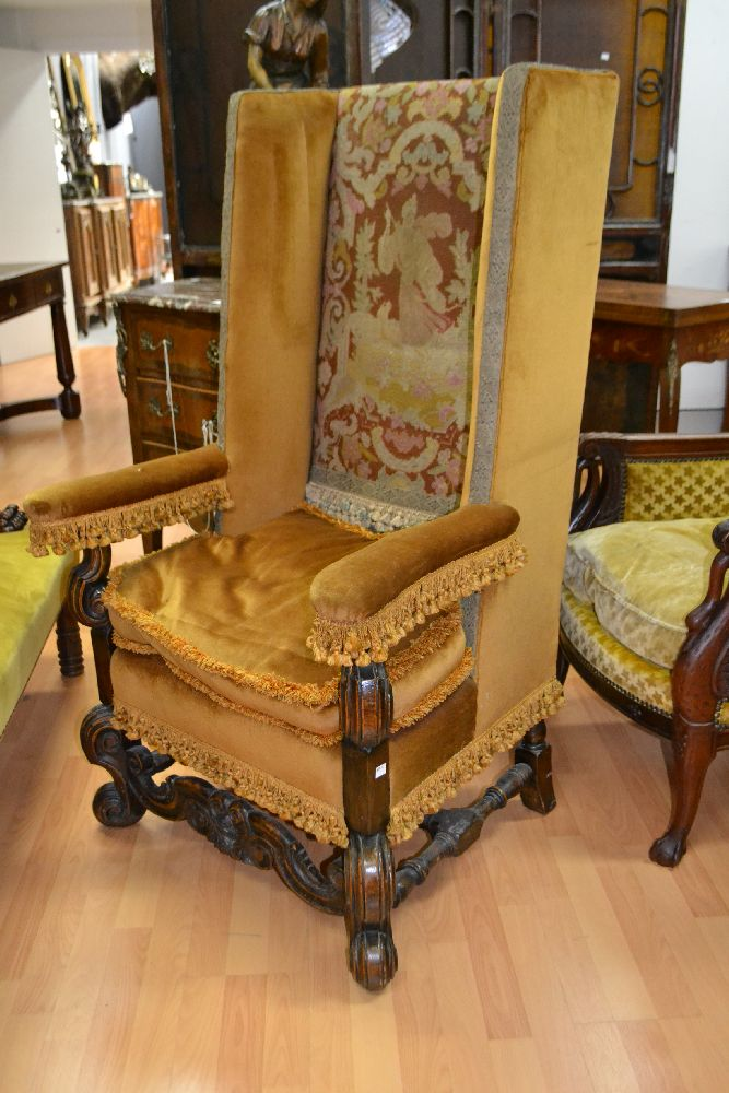 Antique English High Back Needlework Upholstery Chair With S
