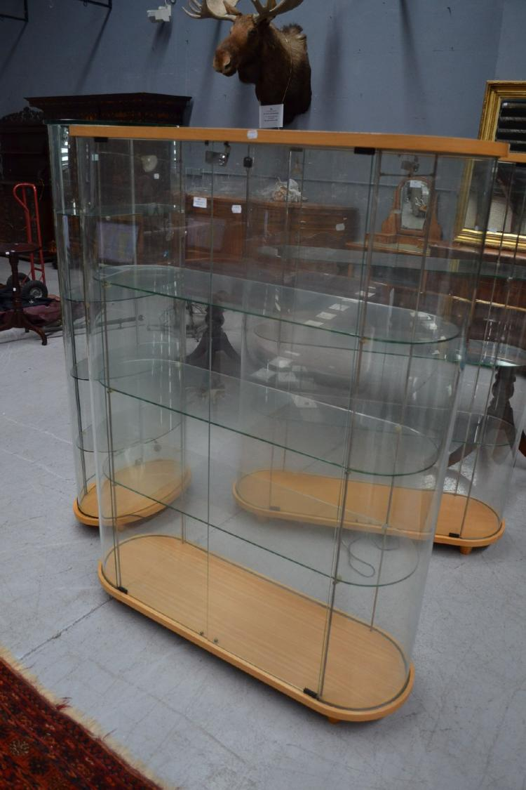 D End Glass Display Cabinet Approx 156cm H X 120cm W X 40cm
