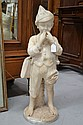 Antique carved alabaster figure of a whistling boy