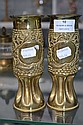 Pair of brass trench art vases WWI (2)