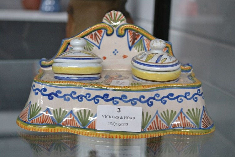 Antique French Faience two pot Inkwell
