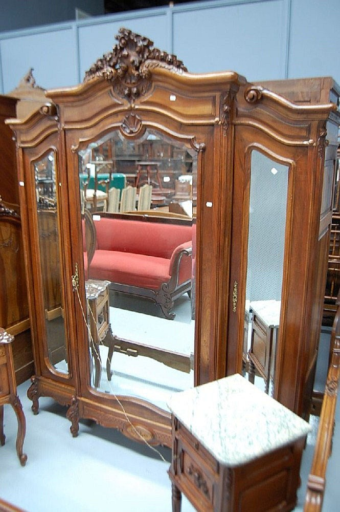 Antique French Louis XV three door armoire (to