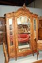 Antique French Louis XV walnut three door armoire,