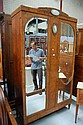 Fine French burr walnut parquetry armoire, fitted