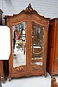 Antique French Louis XV style carved walnut two
