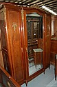 Vintage French Parquetry three door armoire, with