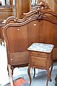 Antique French Louis XV walnut double bed