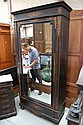 Antique French floral marquetry inlaid single door