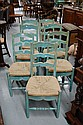 Seven French style rush seated ladder backed