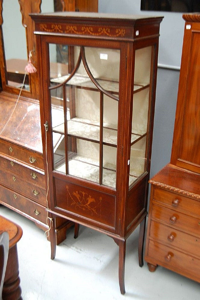 Fine antique inlaid display cabinet, with floral