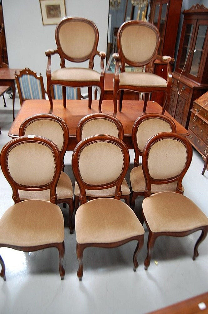 Set of eight Italian upholstered dining chairs, to