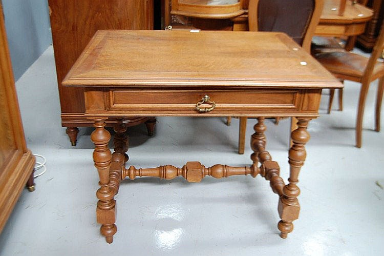 Antique French walnut table desk
