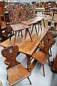 Set of eight antique French oak and beech country