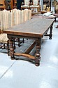 Antique French slab oak refectory table, standing