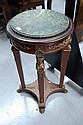 Empire style pedestal table with green marble top