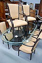Large glass topped dining table standing on two