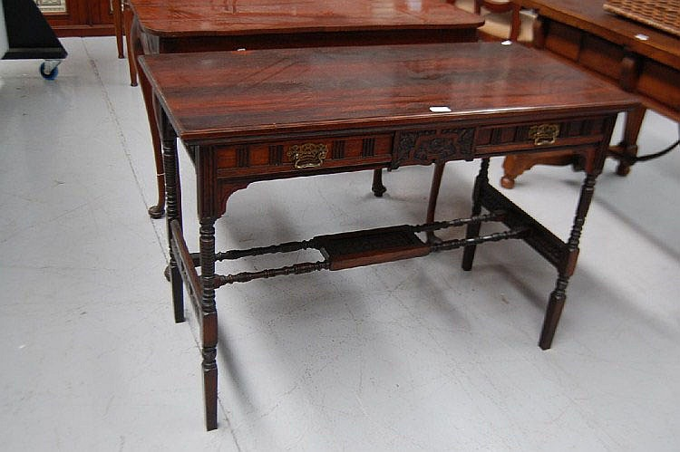 Fine antique English rosewood spindle hall table,