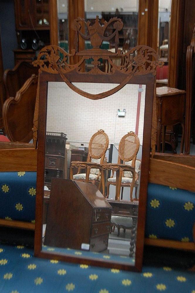 Antique Sheridan revival inlaid mirror, 125 cm H