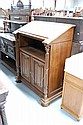 Antique French Church beech & walnut slope top