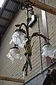 French Petite bronze three light chandelier