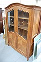 Vintage French Louis XV two piece walnut bookcase