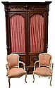 Antique French Henri II two door bookcase, carved