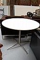Round table with white top and stainless steel