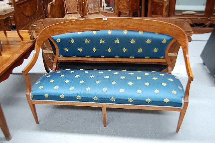 Antique Viennese Biedermeier settee in cherry wood
