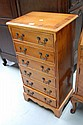Small English yew & walnut six drawer Georgian