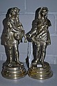Pair of antique French silvered bronze figures,