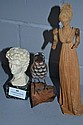 Carved European lady, a carved wooden bird & an