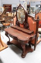 Antique Victorian dressing table, three trinket drawers and mirror to top and a drawer below, approx 160cm H x 110cm W