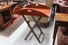 Good quality reproduction butlers tray & stand, approx 106cm W x 80cm D x 80cm H