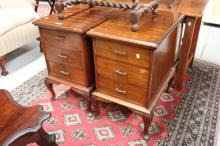 Two vintage maple dressing table ends, converted to bedside cabinets, each approx 47cm W x 67cm D x 75cm H (2)