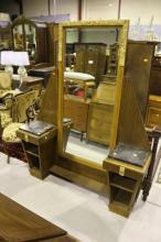 French Art Deco period swivel centre mirror, dressing table, approx 175cm H x 142cm W x 35cm D